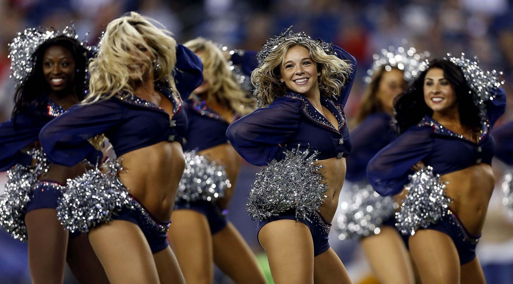 New England Patriots cheerleaders perform during a preseason game against the Tampa Bay Buccaneers in Foxborough. (Michael Dwyer/Associated Press)