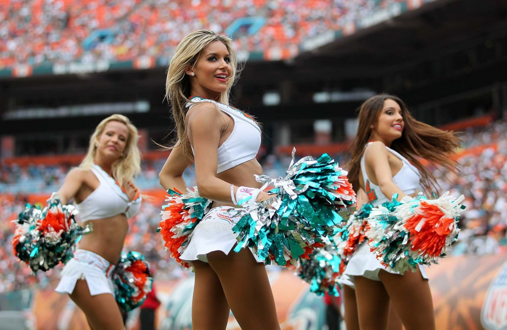 Miami Dolphin cheerleaders perform during a timeout at SunLife Stadium. (Allen Eyestone/The Palm Beach Post)