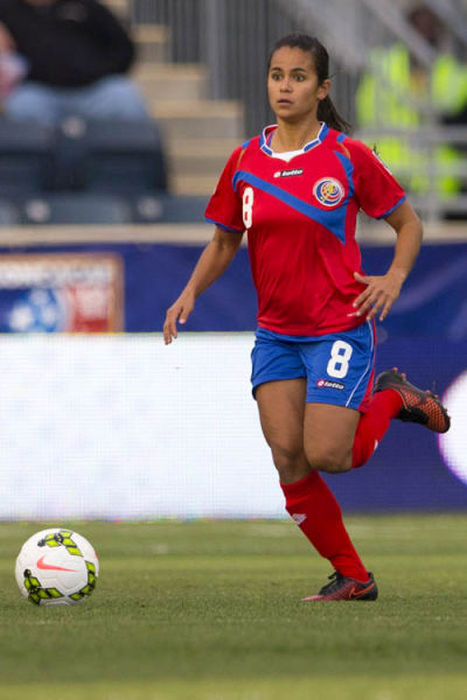 CHESTER, PA - OCTOBER 24: Daniela Cruz #8 of Costa Rica plays in the game against Trinidad & Tobago in the 2014 CONCACAF Women's Championship semifinal game on October 24, 2014 at PPL Park in Chester, Pennsylvania. (Photo by Mitchell Leff/Getty Images)